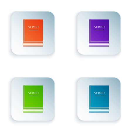 Color Scenario icon isolated on white background. Script reading concept for art project, films, theaters. Set icons in colorful square buttons. Vector Illustration