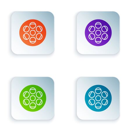 Color Film reel icon isolated on white background. Set icons in colorful square buttons. Vector Illustration Illustration