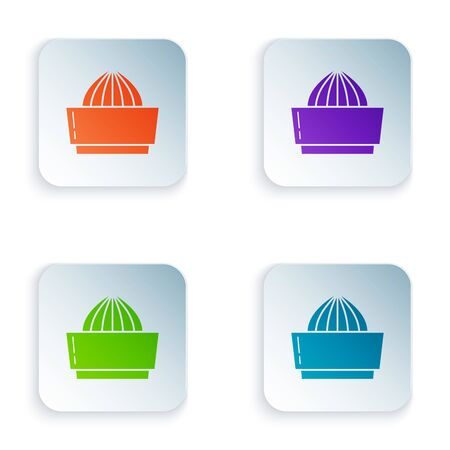 Color Citrus fruit juicer icon isolated on white background. Set icons in colorful square buttons. Vector Illustration