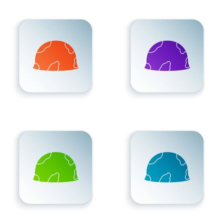 Color Military helmet icon isolated on white background. Army hat symbol of defense and protect. Protective hat. Set icons in colorful square buttons. Vector Illustration 向量圖像