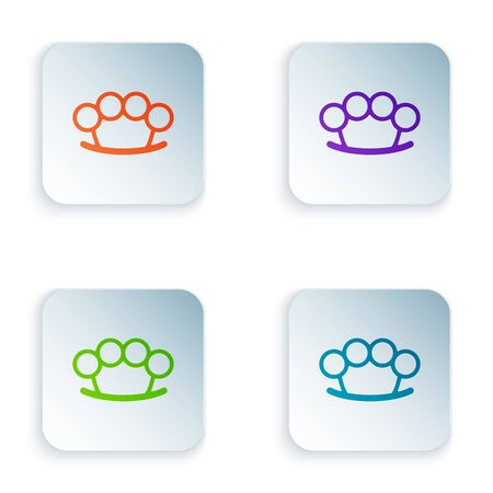 Color Brass knuckles icon isolated on white background. Set icons in colorful square buttons. Vector Illustration Vettoriali