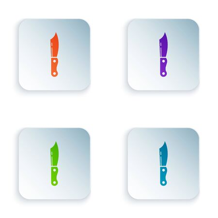 Color Military knife icon isolated on white background. Set icons in colorful square buttons. Vector Illustration