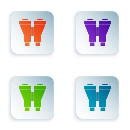 Color Binoculars icon isolated on white background. Find software sign. Spy equipment symbol. Set icons in colorful square buttons. Vector Illustration