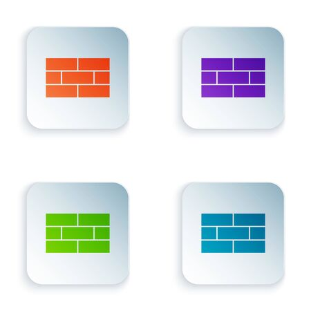 Color Bricks icon isolated on white background. Set icons in colorful square buttons. Vector Illustration
