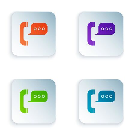 Color Telephone with speech bubble chat icon isolated on white background. Support customer service, hotline, call center, faq, maintenance. Set icons in colorful square buttons. Vector Illustration