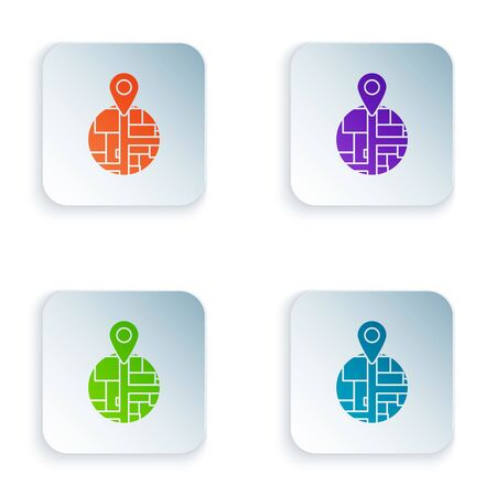 Color Placeholder on map paper in perspective icon isolated on white background. Set icons in colorful square buttons. Vector Illustration