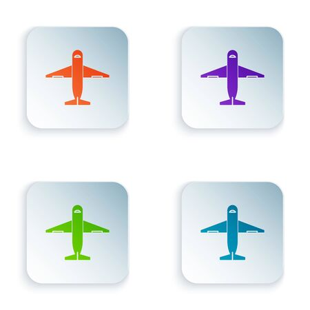 Color Plane icon isolated on white background. Delivery, transportation. Cargo delivery by air. Airplane with parcels, boxes. Set icons in colorful square buttons. Vector Illustration