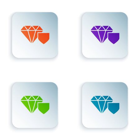 Color Diamond with shield icon isolated on white background. Jewelry insurance concept. Security, safety, protection, protect concept. Set icons in colorful square buttons. Vector Illustration Ilustrace