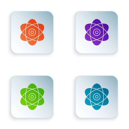 Color Atom icon isolated on white background. Symbol of science, education, nuclear physics, scientific research. Electrons and protons sign. Set icons in colorful square buttons. Vector Illustration Illustration