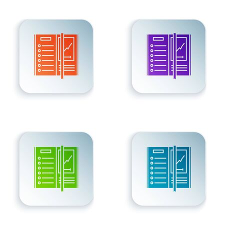 Color Notebook icon isolated on white background. Spiral notepad icon. Writing pad. Diary for business. Notebook cover design. Set icons in colorful square buttons. Vector Illustration Stock Illustratie