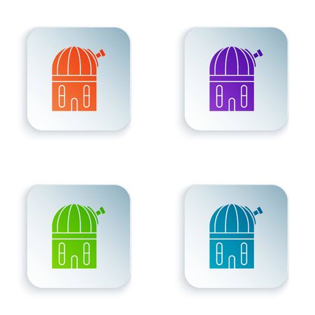 Color Astronomical observatory icon isolated on white background. Set icons in colorful square buttons. Vector Illustration Stock Illustratie