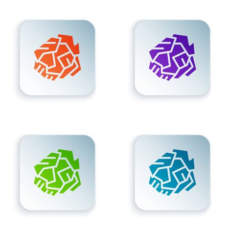 Color Crumpled paper ball icon isolated on white background. Set icons in colorful square buttons. Vector Illustration