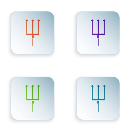 Color Neptune Trident icon isolated on white background. Set icons in colorful square buttons. Vector Illustration