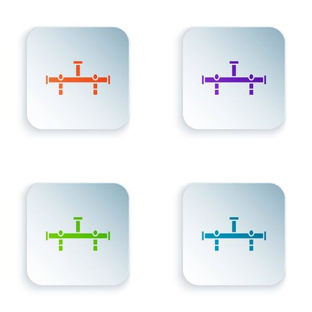 Color Manifold icon isolated on white background. Set icons in colorful square buttons. Vector Illustration