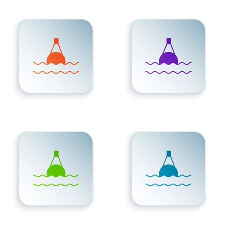 Color Floating buoy on the sea icon isolated on white background. Set icons in colorful square buttons. Vector Illustration