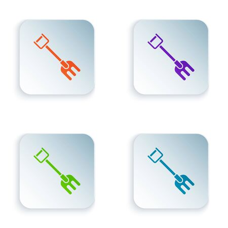 Color Garden rake icon isolated on white background. Tool for horticulture, agriculture, farming. Ground cultivator. Housekeeping equipment. Set icons in colorful square buttons. Vector Illustration