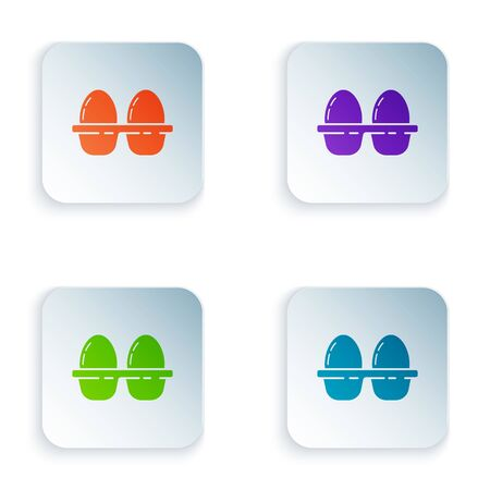 Color Chicken egg in box icon isolated on white background. Set icons in colorful square buttons. Vector Illustration Иллюстрация