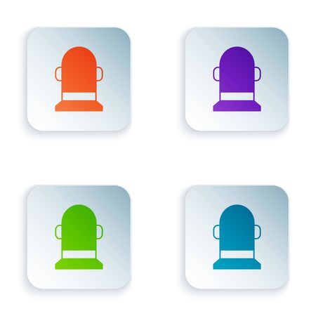 Color Buoy icon isolated on white background. Set icons in colorful square buttons. Vector Illustration