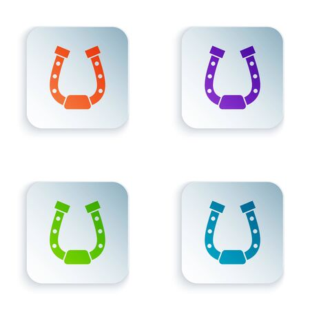 Color Horseshoe icon isolated on white background. Set icons in colorful square buttons. Vector Illustration Stock Illustratie