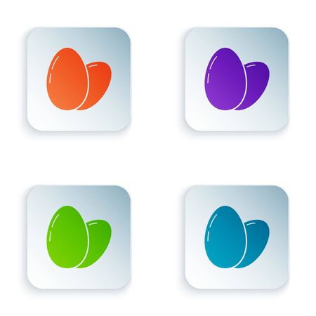 Color Chicken egg icon isolated on white background. Set icons in colorful square buttons. Vector Illustration