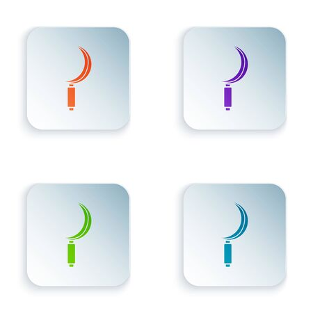 Color Sickle icon isolated on white background. Reaping hook sign. Set icons in colorful square buttons. Vector Illustration