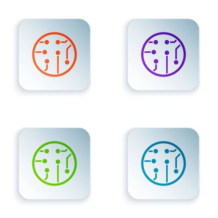 Color Processor icon isolated on white background. CPU, central processing unit, microchip, microcircuit, computer processor, chip. Set icons in colorful square buttons. Vector Illustration 写真素材 - 132465326