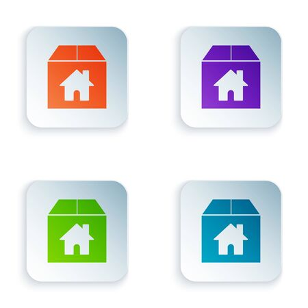 Color Cardboard box with house symbol icon isolated on white background. Box, package, parcel sign. Delivery, transportation and shipping. Set icons in colorful square buttons. Vector Illustration Stock Illustratie