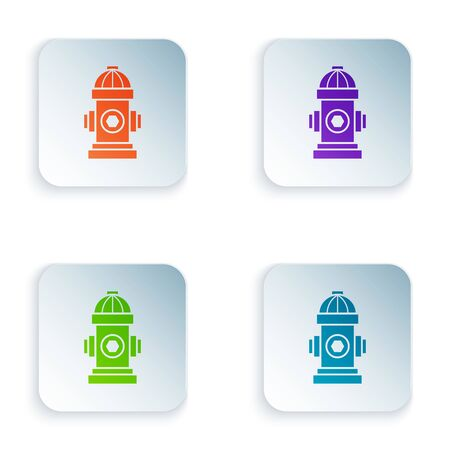Color Fire hydrant icon isolated on white background. Set icons in colorful square buttons. Vector Illustration