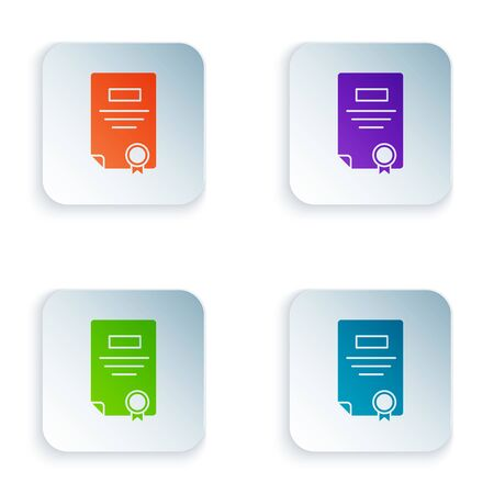 Color Certificate template icon isolated on white background. Achievement, award, degree, grant, diploma. Business success certificate. Set icons in colorful square buttons. Vector Illustration Stock Illustratie