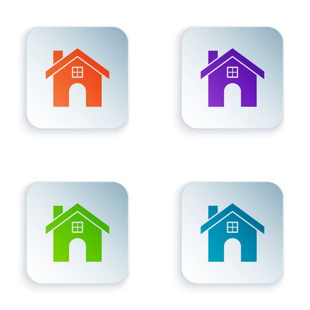 Color House icon isolated on white background. Home symbol. Set icons in colorful square buttons. Vector Illustration