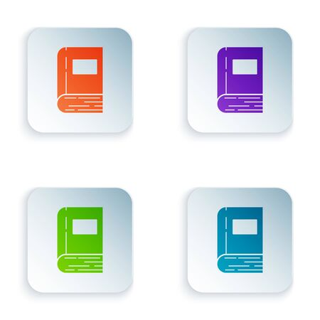 Color Book icon isolated on white background. Set icons in colorful square buttons. Vector Illustration