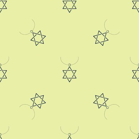 Blue Star of David necklace on chain icon isolated seamless pattern on yellow background. Jewish religion symbol. Symbol of Israel. Jewellery and accessory. Vector Illustration