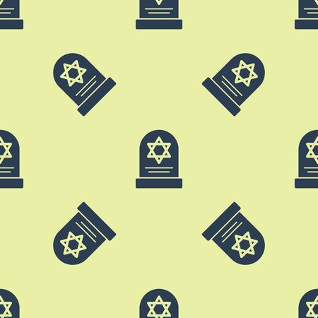 Blue Tombstone with star of david icon isolated seamless pattern on yellow background. Jewish grave stone. Gravestone icon. Vector Illustration