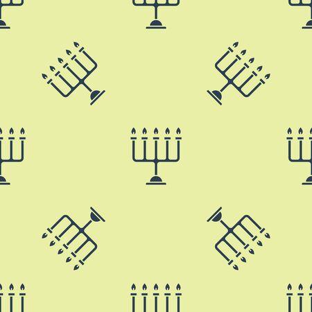 Blue Hanukkah menorah icon isolated seamless pattern on yellow background. Hanukkah traditional symbol. Holiday religion, jewish festival of Lights. Vector Illustration