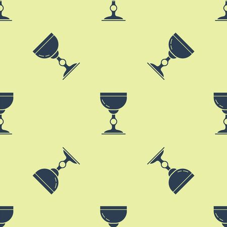 Blue Jewish goblet icon isolated seamless pattern on yellow background. Jewish wine cup for kiddush. Kiddush cup for Shabbat. Vector Illustration