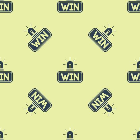 Blue Casino win icon isolated seamless pattern on yellow background. Vector Illustration