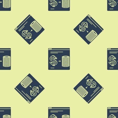 Blue Online casino chips exchange on stacks of dollars icon isolated seamless pattern on yellow background. Vector Illustration