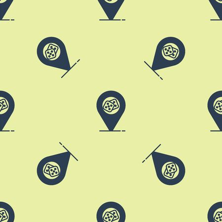 Blue Casino location icon isolated seamless pattern on yellow background. Game dice icon. Vector Illustration