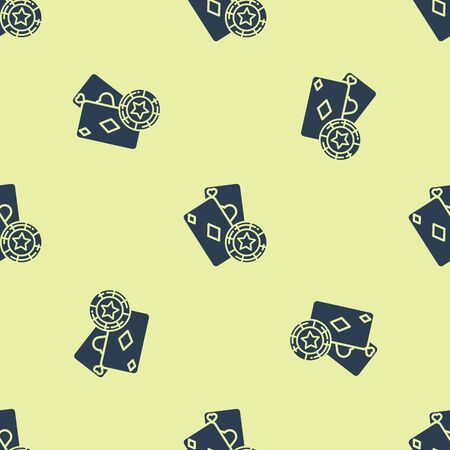 Blue Casino chip and playing cards icon isolated seamless pattern on yellow background. Casino poker. Vector Illustration