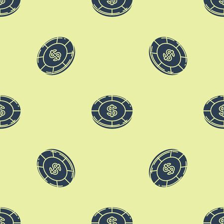 Blue Casino chip with dollar symbol icon isolated seamless pattern on yellow background. Casino gambling. Vector Illustration