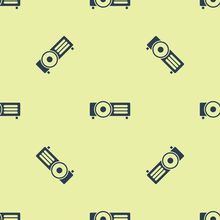 Blue Presentation, movie, film, media projector icon isolated seamless pattern on yellow background. Vector Illustration