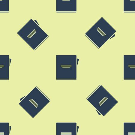 Blue Notebook icon isolated seamless pattern on yellow background. Spiral notepad icon. School notebook. Writing pad. Diary for school. Vector Illustration