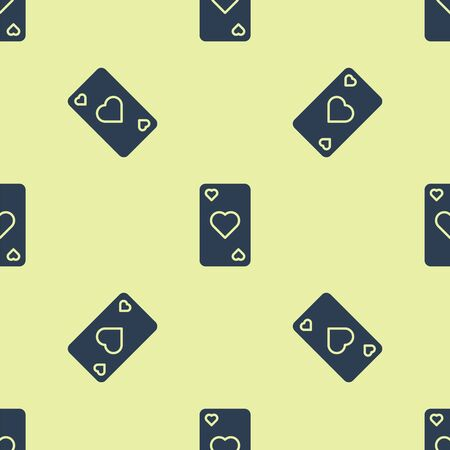Blue Playing card with heart symbol icon isolated seamless pattern on yellow background. Casino gambling. Vector Illustration