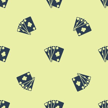 Blue Playing cards icon isolated seamless pattern on yellow background. Casino gambling. Vector Illustration Illusztráció