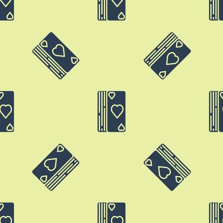 Blue Deck of playing cards icon isolated seamless pattern on yellow background. Casino gambling. Vector Illustration
