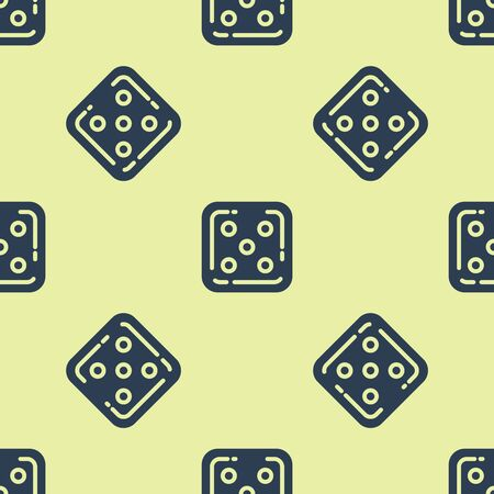Blue Game dice icon isolated seamless pattern on yellow background. Casino gambling. Vector Illustration Illusztráció