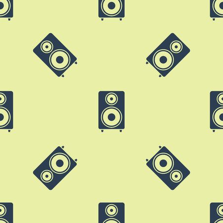 Blue Stereo speaker icon isolated seamless pattern on yellow background. Sound system speakers. Music icon. Musical column speaker bass equipment. Vector Illustration 向量圖像
