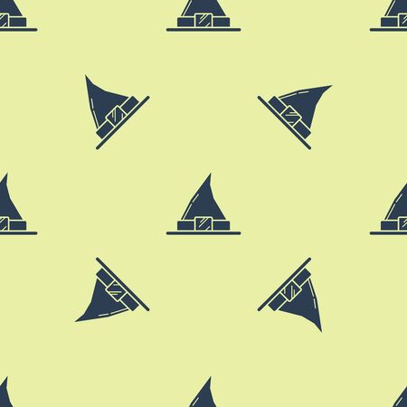 Blue Witch hat icon isolated seamless pattern on yellow background. Happy Halloween party. Vector Illustration