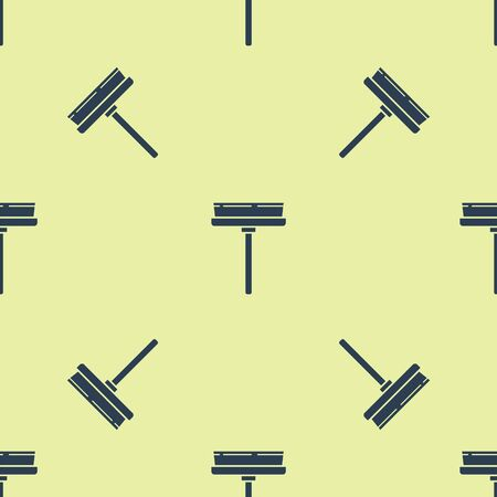 Blue Cleaning service with of rubber cleaner for windows icon isolated seamless pattern on yellow background. Squeegee, scraper, wiper. Vector Illustration