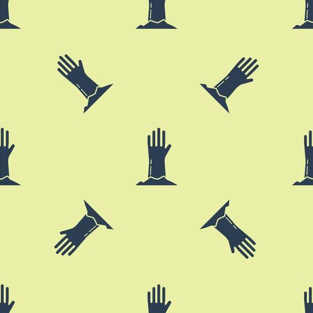 Blue Zombie hand icon isolated seamless pattern on yellow background. Arm monster dead. Happy Halloween party. Vector Illustration